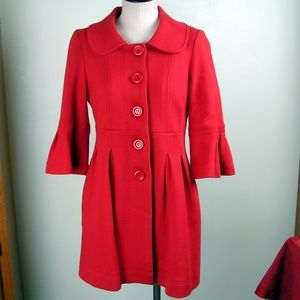 Forever 21 red pea coat bell sleeves M
